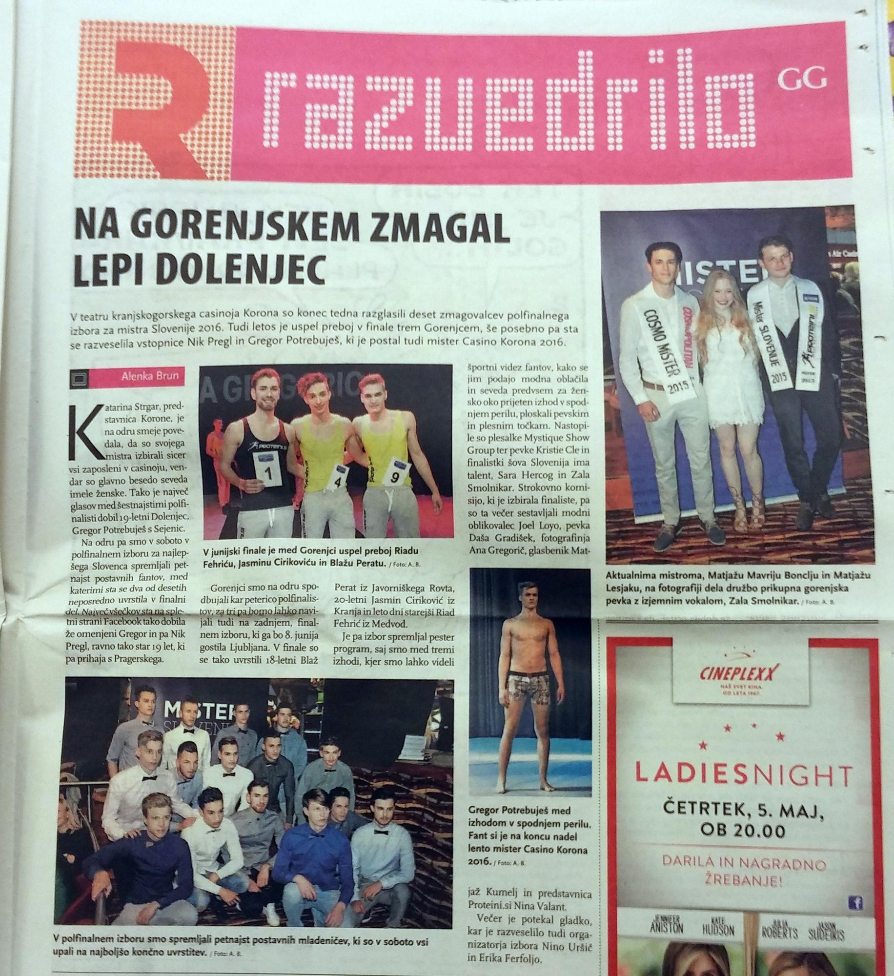 Mister Slovenije 2016, Kranjska Gora